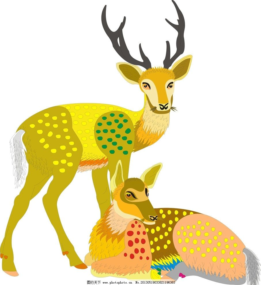 卡通鹿 动物 森林 鹿 背景图 素材 动物素材 梅花鹿 卡通 可爱 矢量