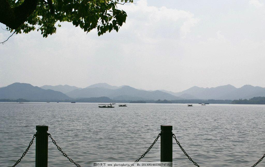 西湖美景图片,杭州 湖水 小木船 山水 风景 旅游-图行天下图库