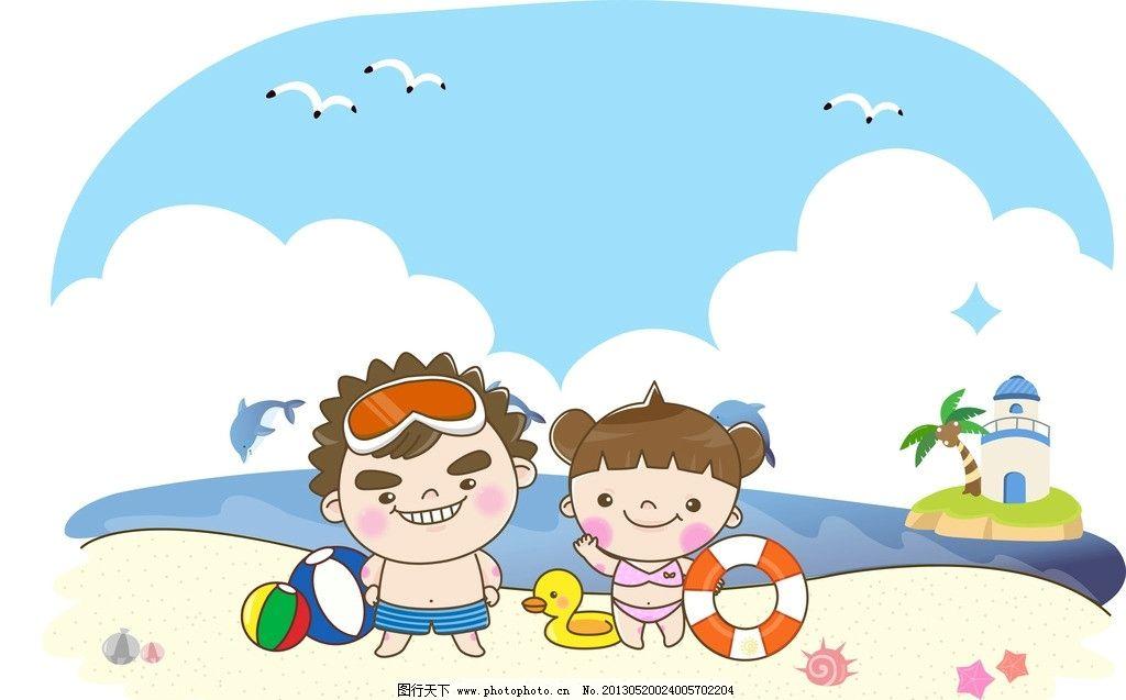 热带夏日沙滩海景
