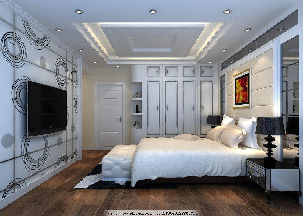 欧式卧室 效果图 衣柜 电视背景 床头背景 挂画 软包 镜子 藏灯