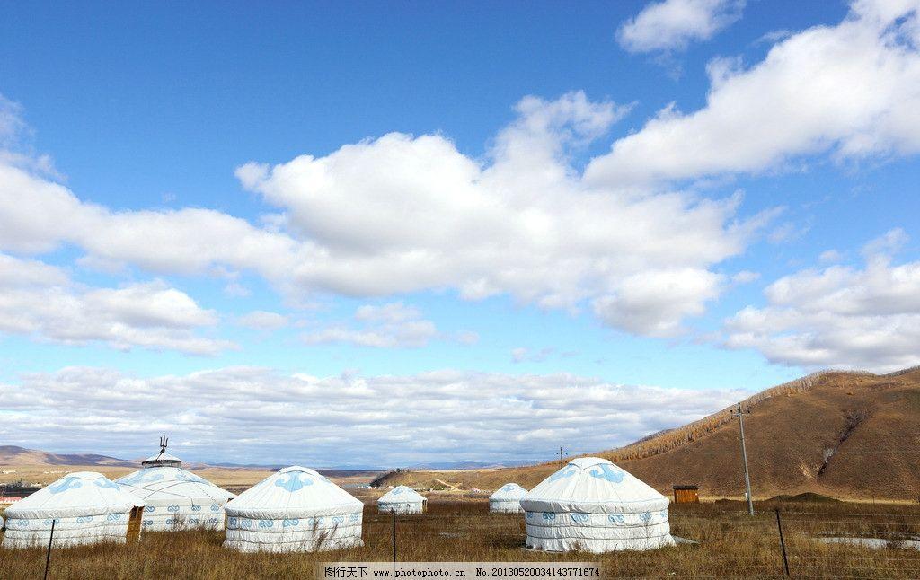 蒙古包 草地 大山 电线 天空 草原蒙古包 内蒙古 羊群 风景