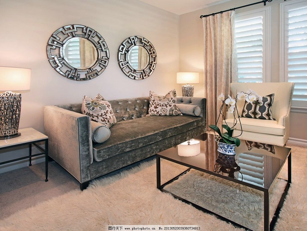 台灯 花盆 北欧风格 美式 装修 大厅 沙发      别墅 楼中楼 挑高