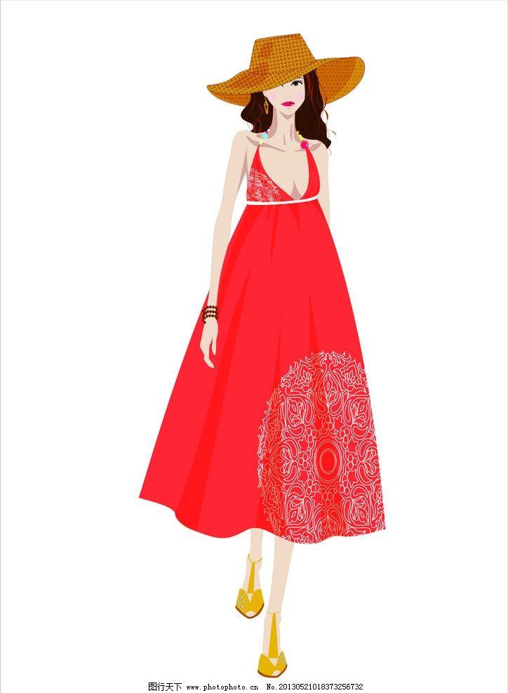 服装效果图 红色 美女 礼服 中国风 民族风 完结0篇 作业 服装设计