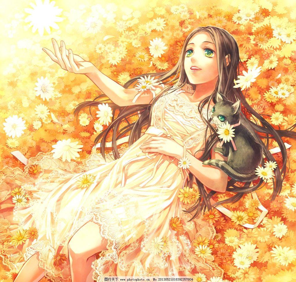日本手绘小清新插画花朵