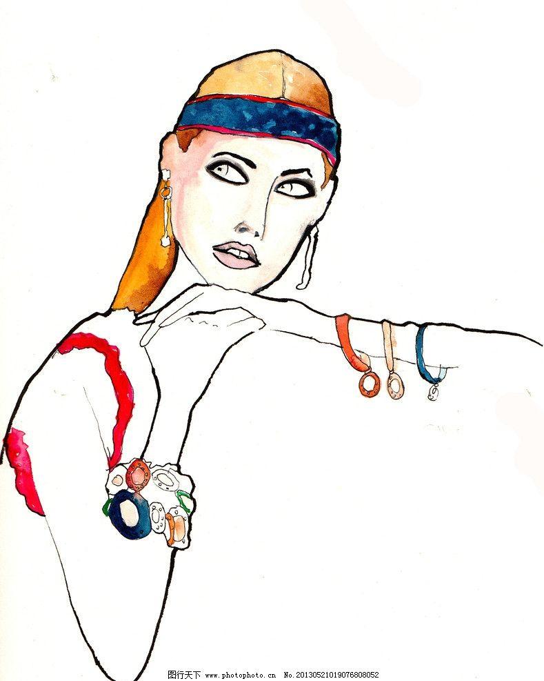 水彩画 插画 速写 眼睛 画面 女人 头发 绘画书法 文化艺术 设计 300