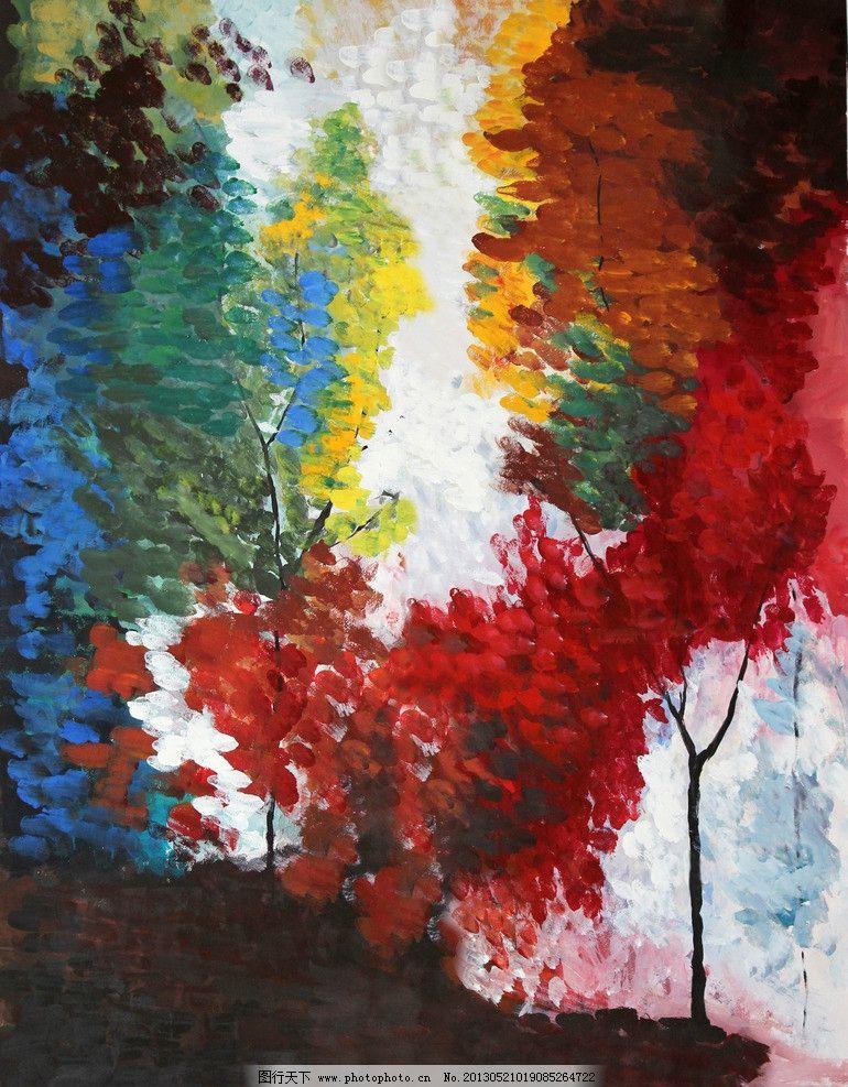 抽象油画 装饰画 无框画 壁画 水晶画 油画 树木 艺术      装修 绘画