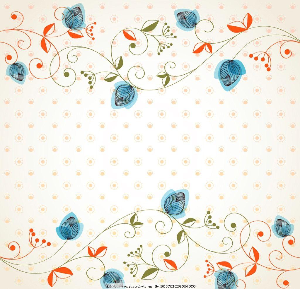 手绘藤蔓花纹背景图片