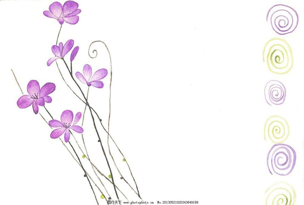 手绘花模板下载 手绘 花 紫色花 圆圈底纹 花边花纹 底纹边框 设计 96