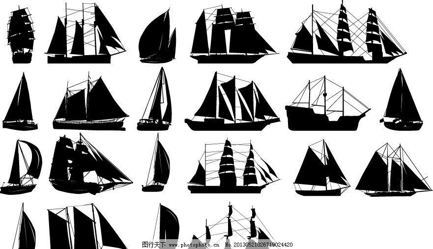 黑白帆船剪影图片