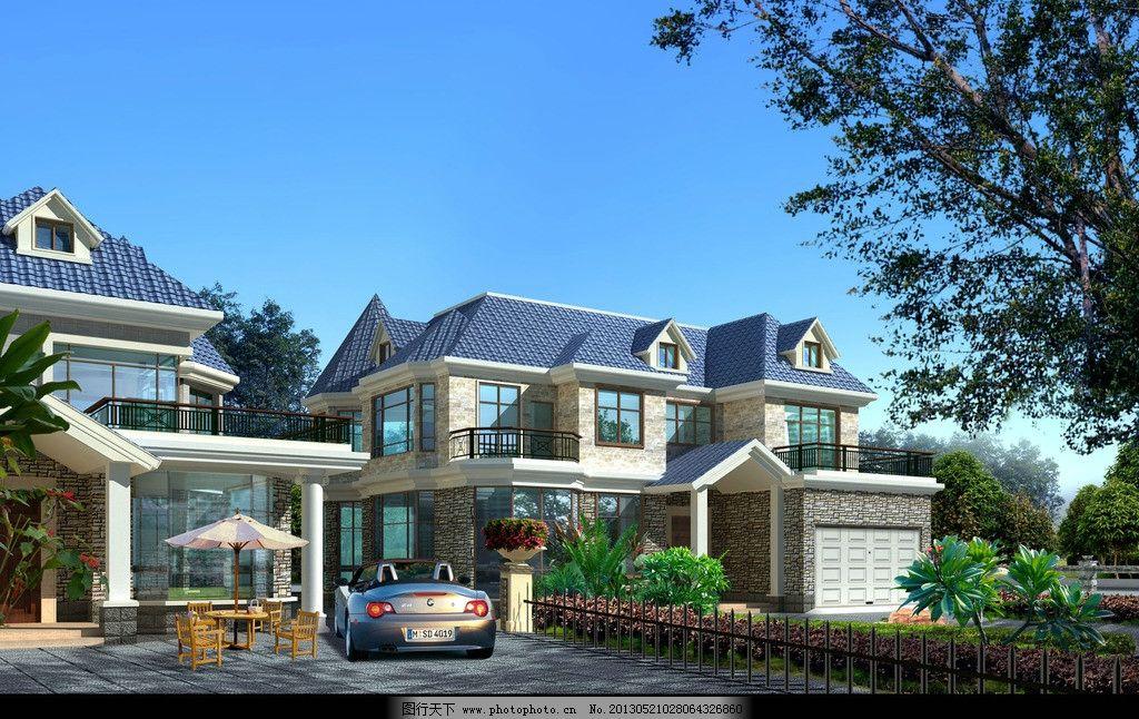 设计图库 环境设计 建筑设计  二层别墅施工图带效果 建筑效果图 欧式