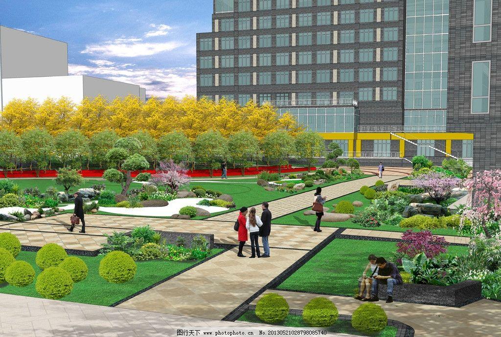 小区效果图 源文件 景墙 办公楼 72dpi psd 地产 效果图 园林设计