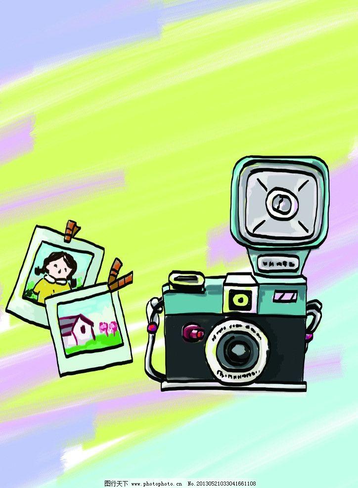 手绘相机和照片 手绘 卡通 相机 照片 线稿与色块分层 psd分层素材 源