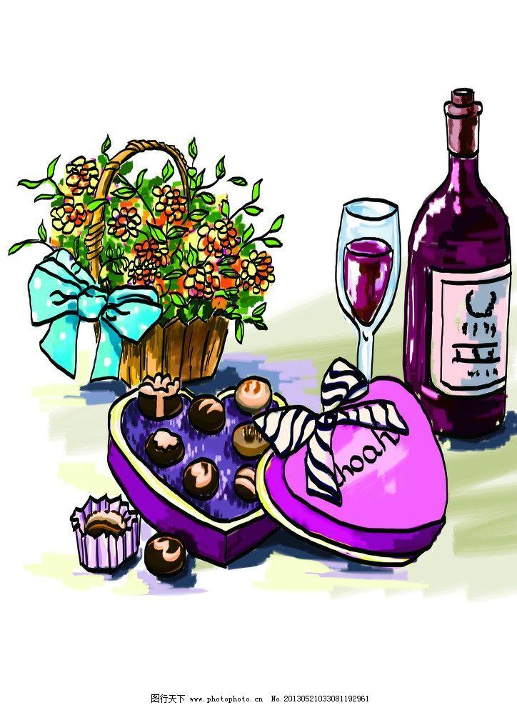 手绘 卡通 花篮 红酒 糖果 巧克力 线稿与色块分层 psd分层素材 源