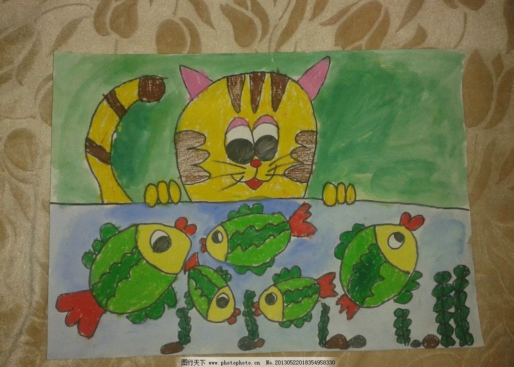儿童画 猫 小鱼 水 原创 动漫人物 动漫动画 设计 72dpi jpg