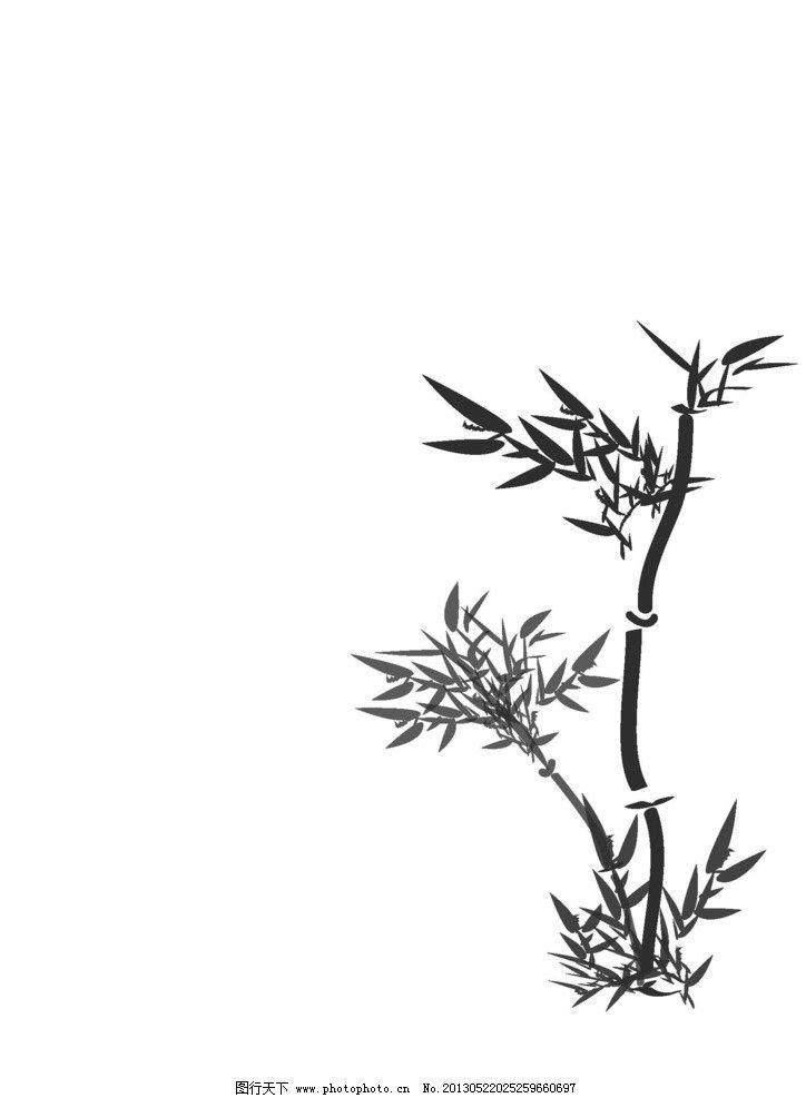 竹子 水墨画 风景画 毛笔 简笔画 树木树叶 生物世界 矢量 ai