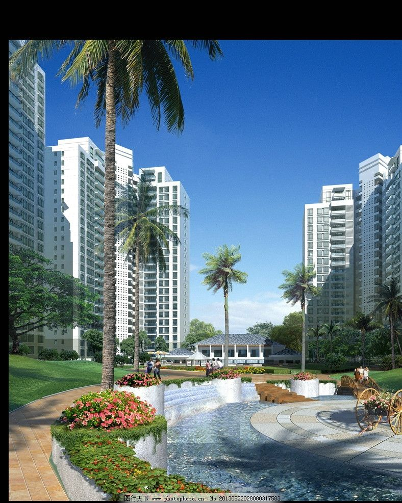 高层小区效果图 建筑表现 高层住宅 绿化 水域 水系 源文件