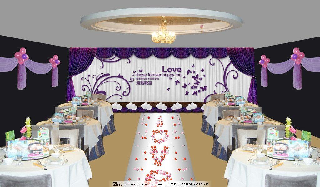 婚宴舞台布置 气球 世界建筑 花瓣 卡通人物 新郎 新娘 新人 婚宴