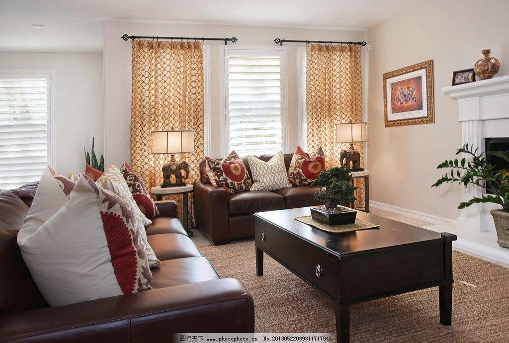别墅客厅 北欧风格 美式 装修 大厅 真皮沙发 绿植 靠垫 木地板