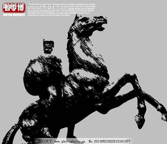 骑马武士雕塑剪影图片