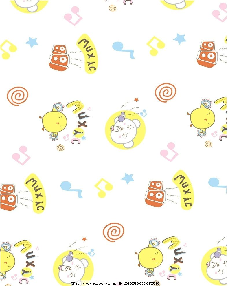 可爱卡通动物底纹背景 矢量素材 矢量模板 底纹边框 可爱背景 小动物