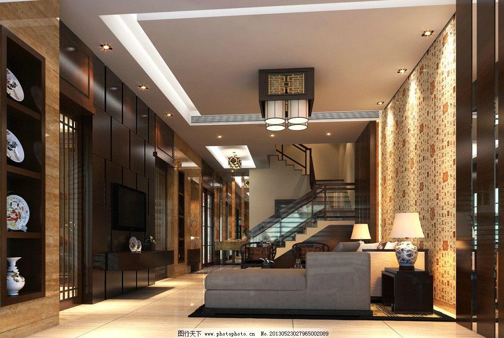 客厅效果图             楼梯 沙发 工艺品 吊灯 室内设计 环境设计