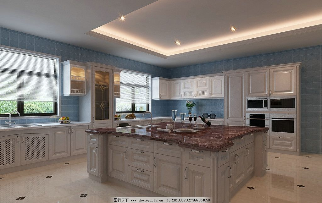 大厨房效果图 厨房效果图 厨桌侧面 橱柜 大厨房 壁橱 室内设计 环境
