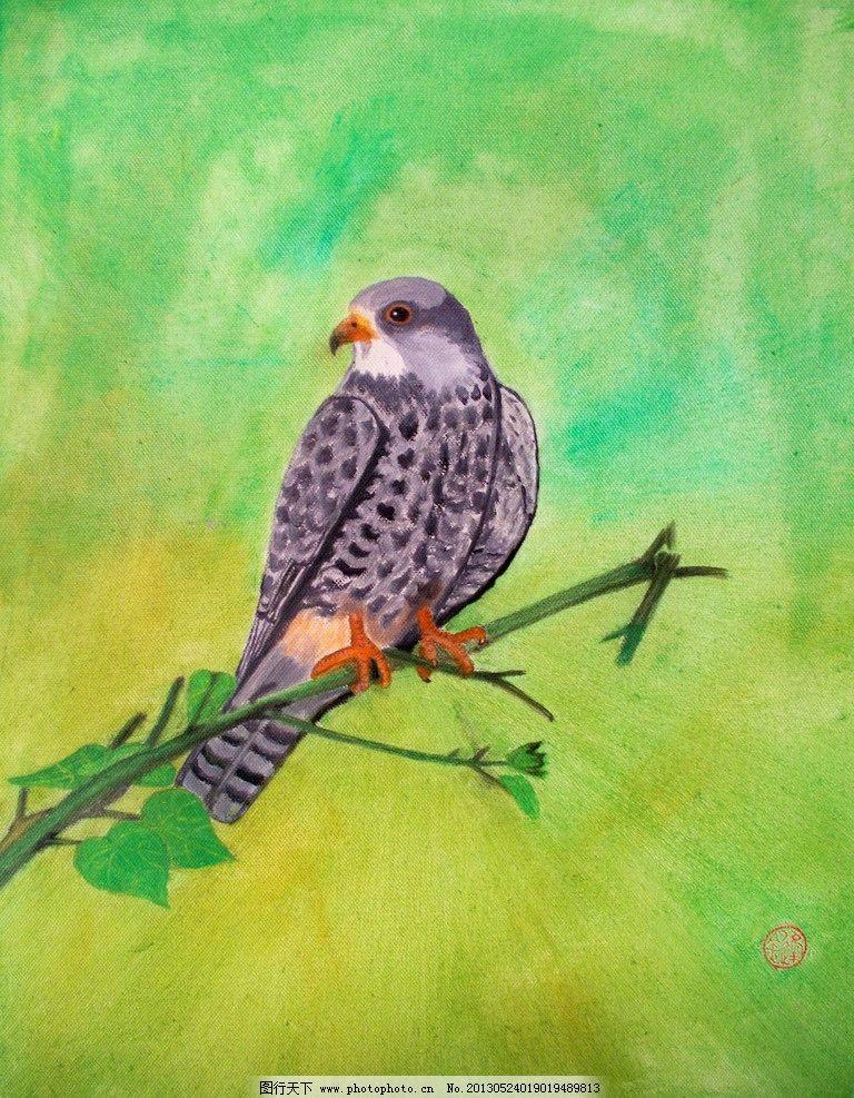 鹰 油画 老鹰 动物 飞禽 绘画书法 文化艺术 设计 480dpi jpg