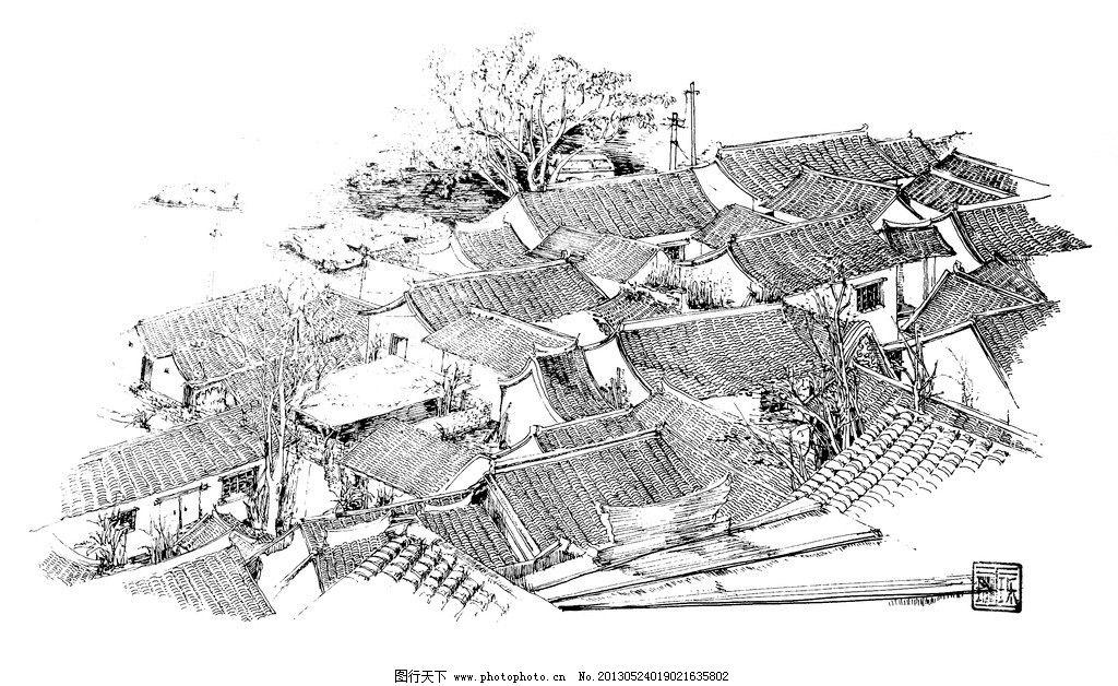 铅笔手绘乡村房屋图片