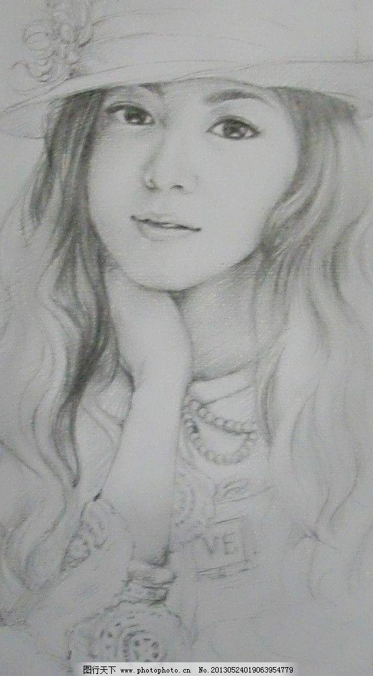 人物素描 女孩 帽子 衣服 设计 美术 艺术 绘画书法 文化艺术 72dpi