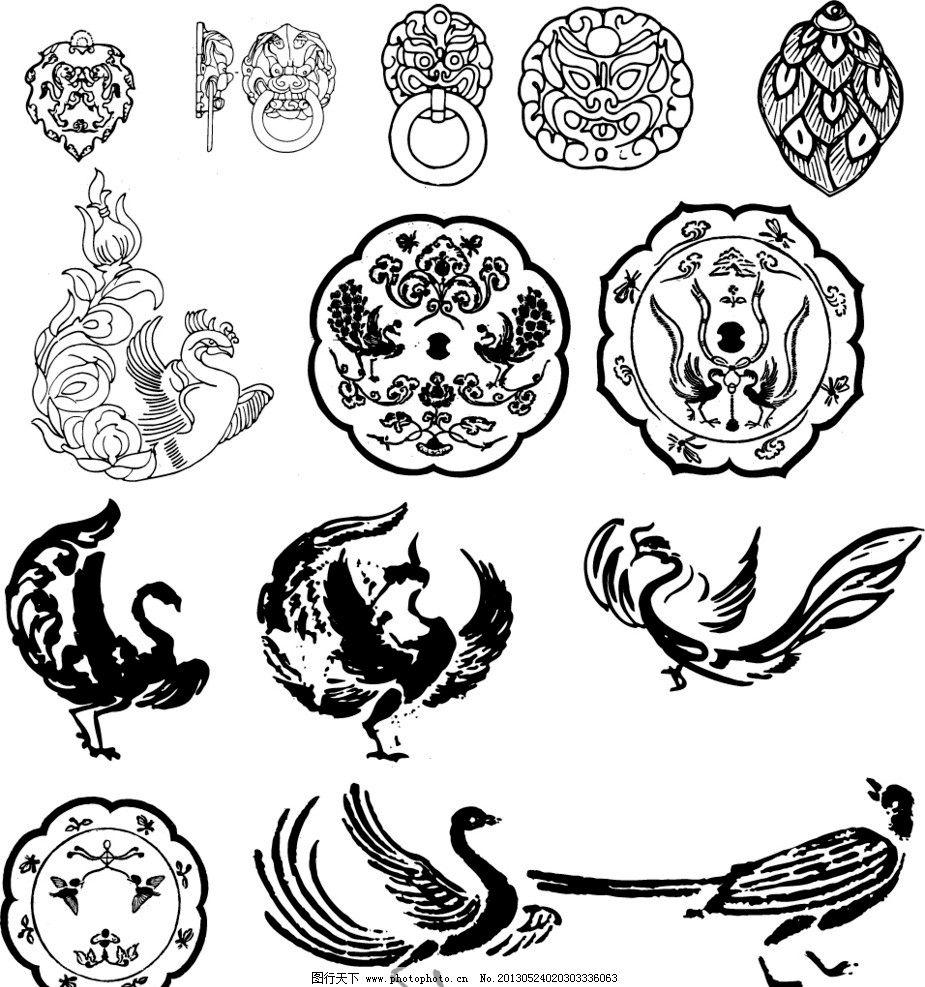 传统花纹 传统 花纹 圆纹 佛像 观音 佛 花鸟 龙凤 动物 生肖 花瓶