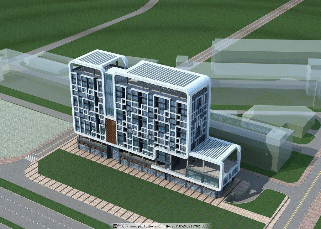 西乡公寓楼 公建 效果图 石材 会所 现代建筑
