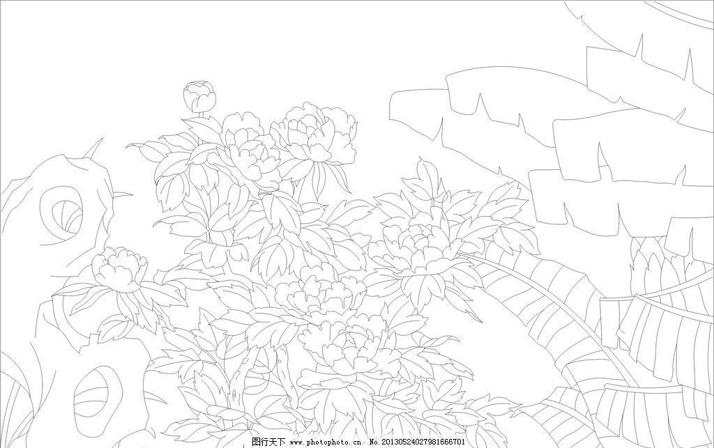 牡丹花 矢量 矢量图 cdr格式 线稿 线条 黑色 玻雕 艺术玻璃 屏风 花