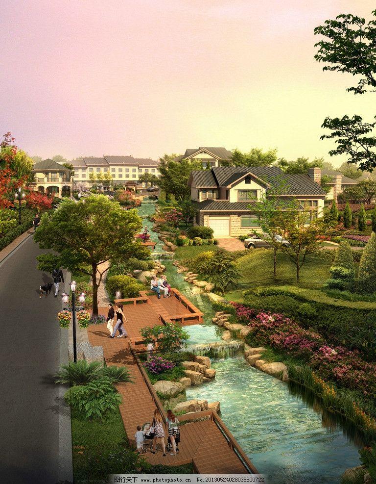 别墅小区图片,鸟瞰 效果图 日景 低层 乡村风格 环境
