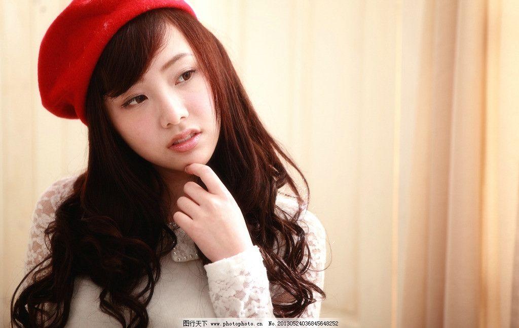 红帽女孩 气质美女 清纯美女 可爱美女 卷发美女 小清新 高清美女