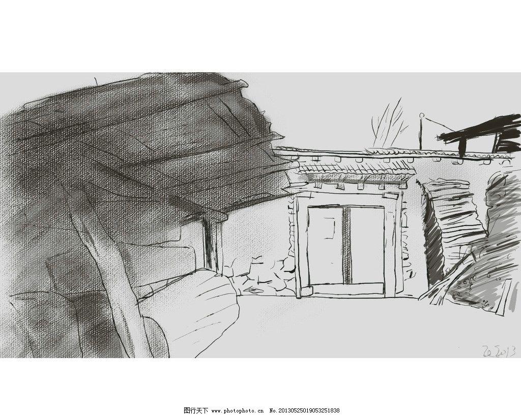 手绘村居图片