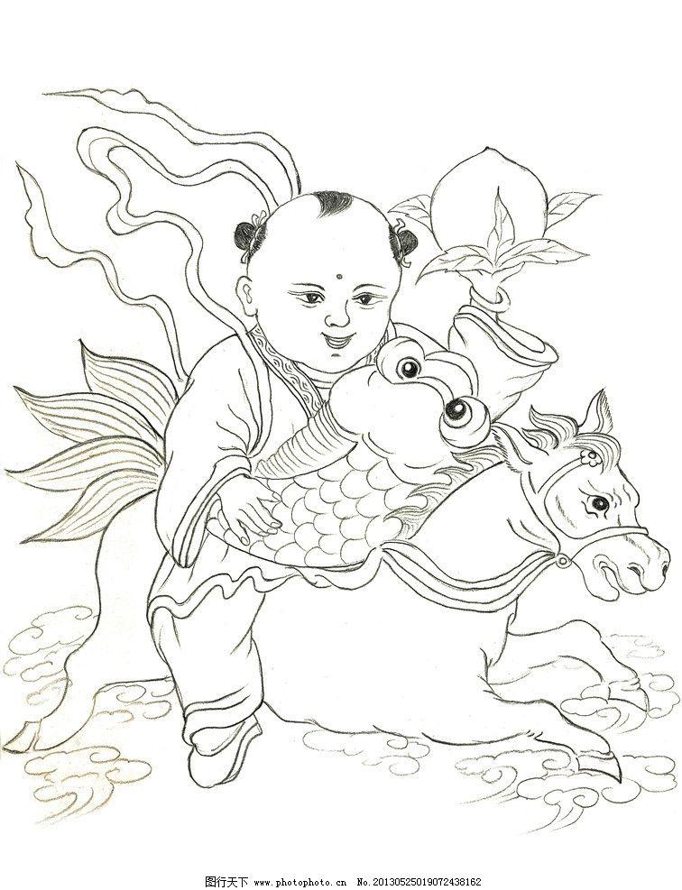 手绘童子骑马 桃 人物 手绘 先搞 线描 时代 寿桃 马 花朵 老人 动物