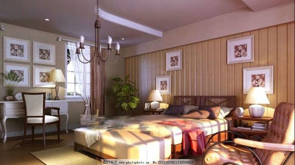 卧室效果图      酒店卧室 商务会所 温馨环境 vr渲染 室内模型 3d