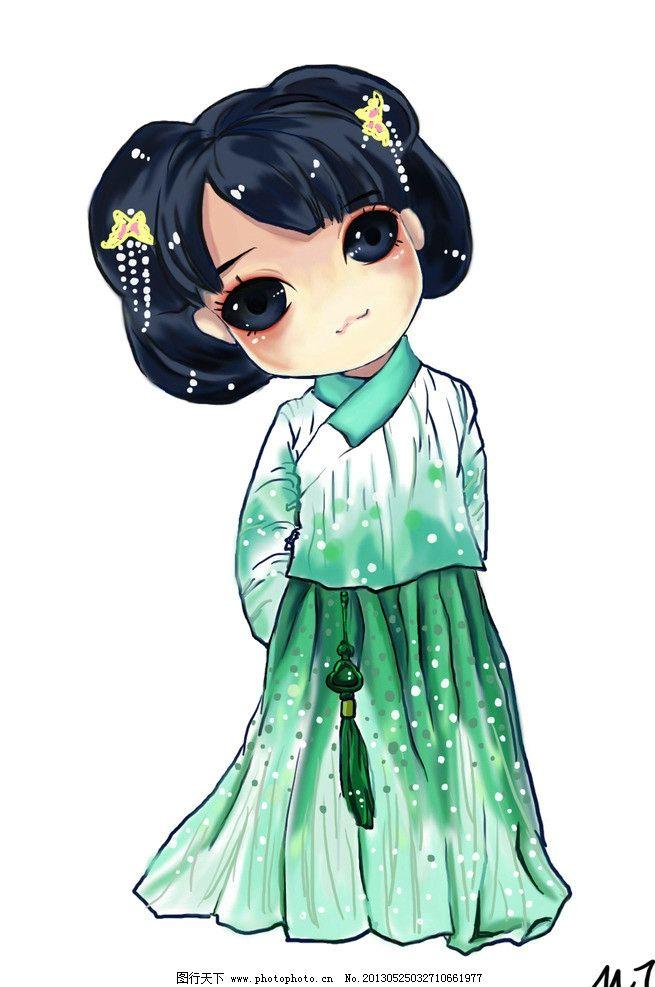 动漫手绘 卡通 动漫 可爱 女孩 手绘 汉代服饰 绿色 人物 psd分层素材