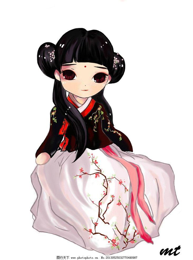 动漫手绘 卡通 动漫 可爱 女孩 手绘 汉代服饰 人物 psd分层素材 源