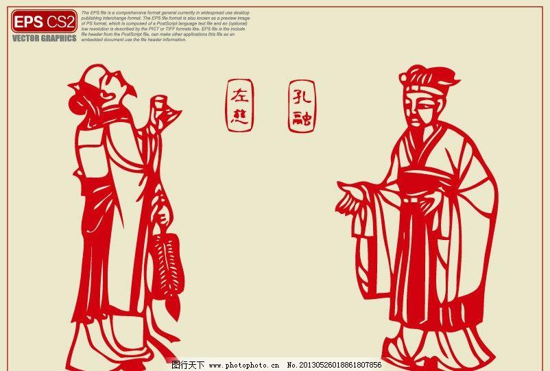 三国人物剪纸 左慈 孔融 东辽满族剪纸 三国人物 白崇仁剪纸作品 历史