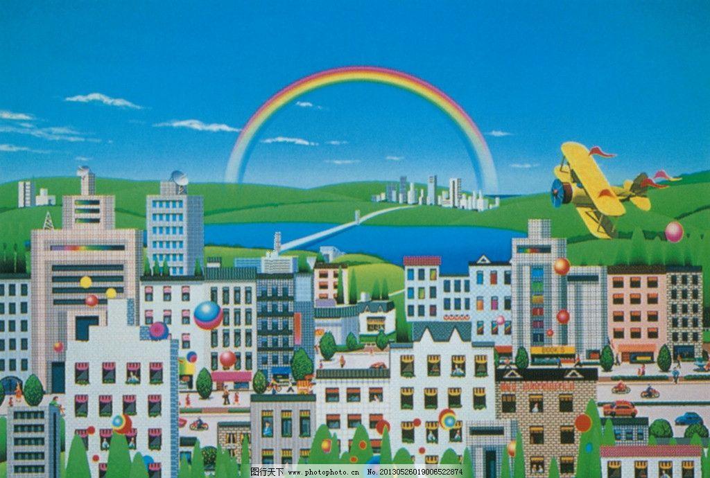 插画 未来 科技 彩虹 飞机 儿童画 手绘 绘画书法 文化艺术 设计 350