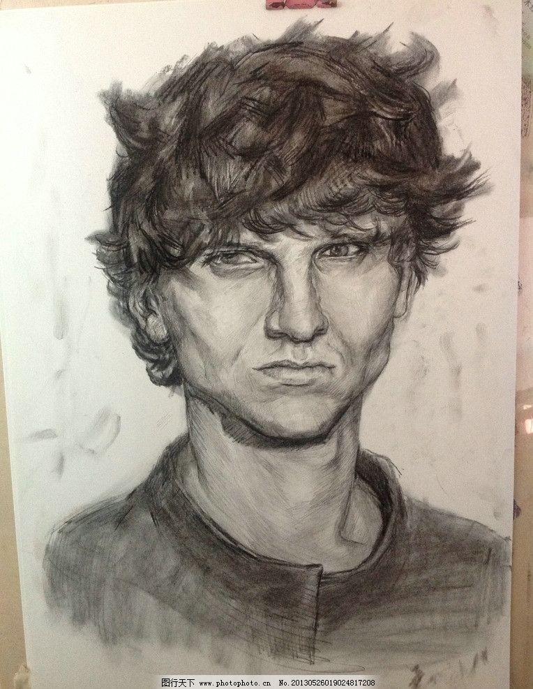素描头像 素描      男青年 头发 帅哥 绘画书法 文化艺术 设计 72dpi
