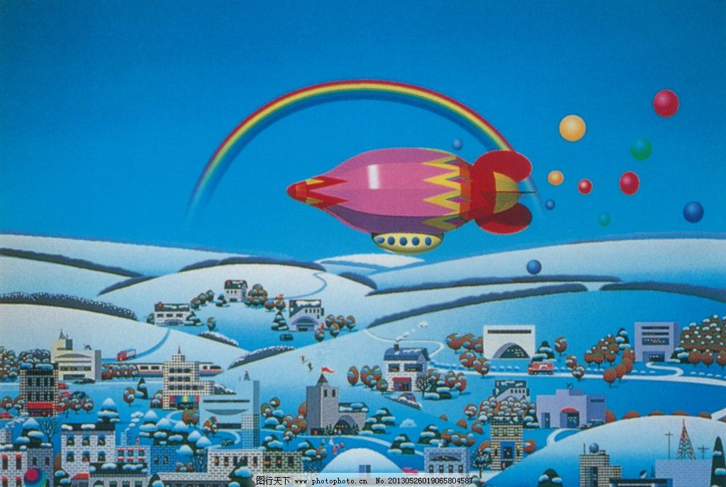 插画 未来 未来城市 手绘 儿童画 火箭 彩虹 绘画书法 文化艺术 设计