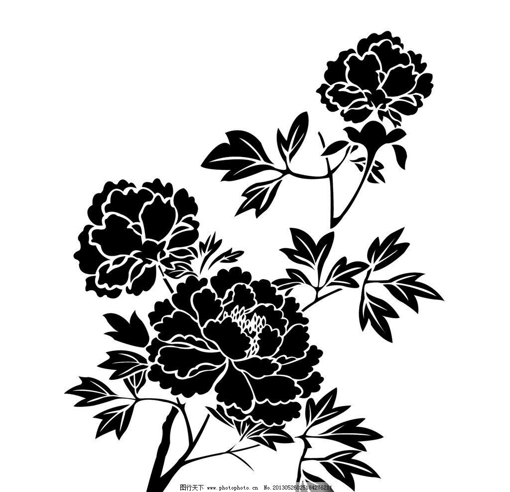 牡丹花雕花黑白图片