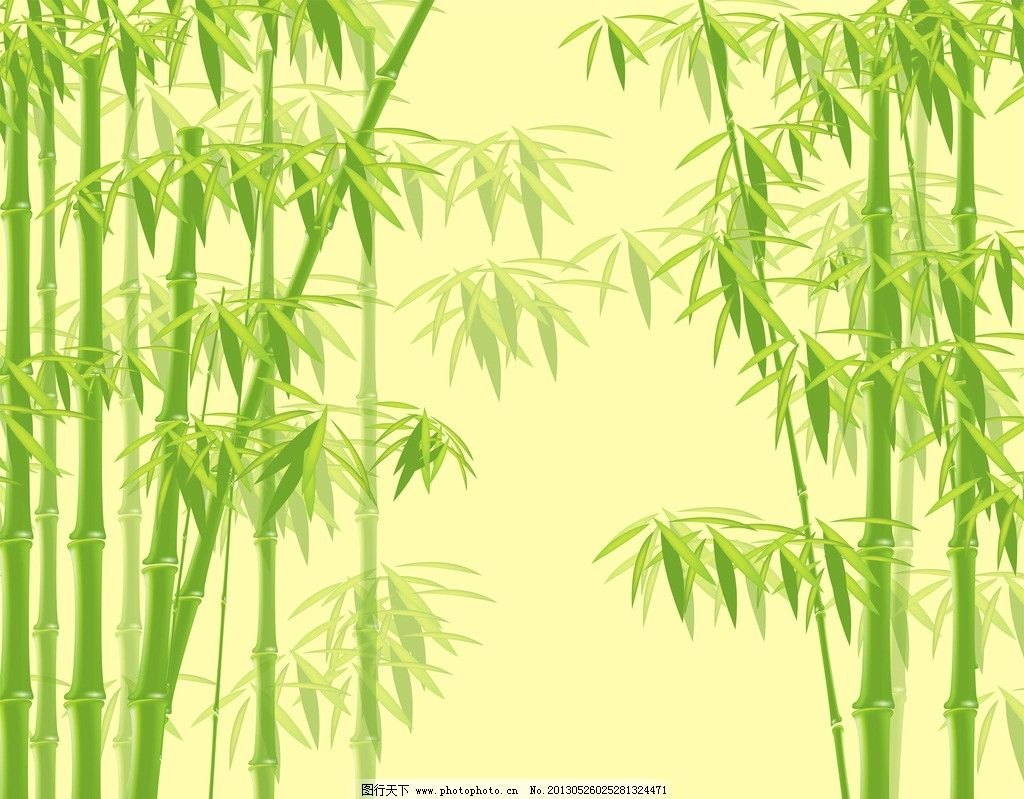 竹林 弯倒竹子 黄色背景