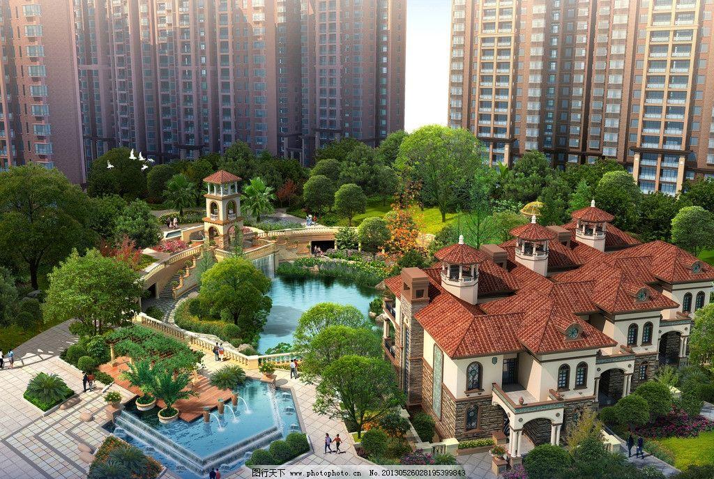 别墅设计 景观 小区 住宅 建筑设计 水池 喷泉