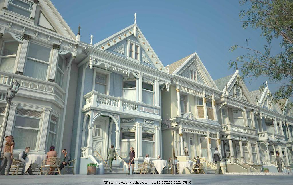 实景 欧式 别墅设计素材 别墅模板下载 别墅 实景 渲染 建筑 天空
