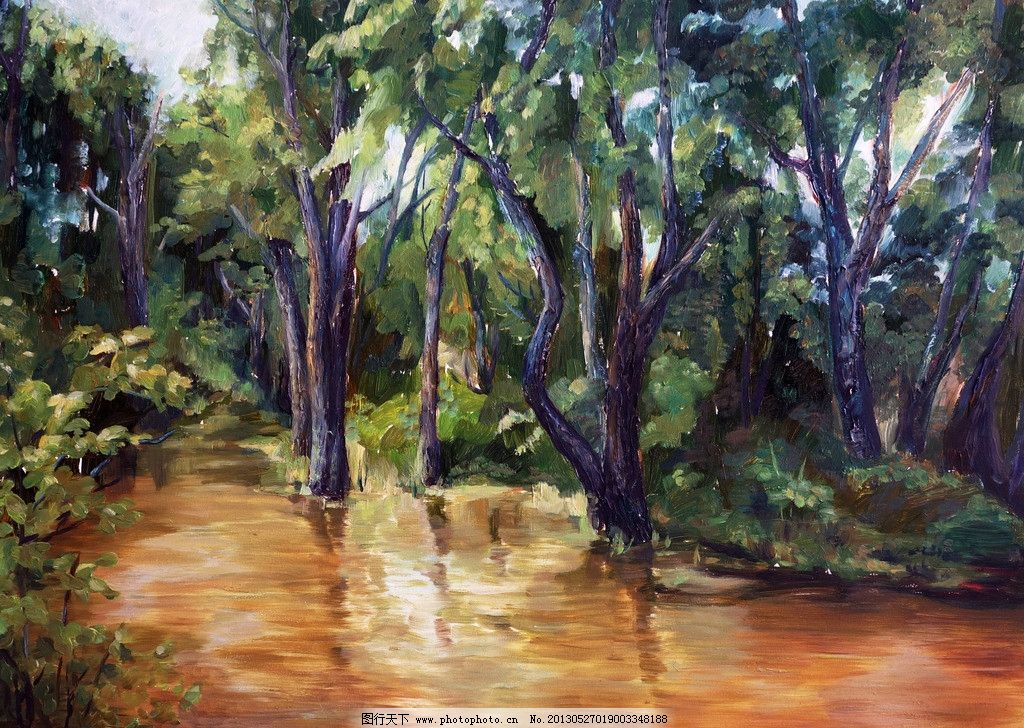 风景油画 根河市 油画