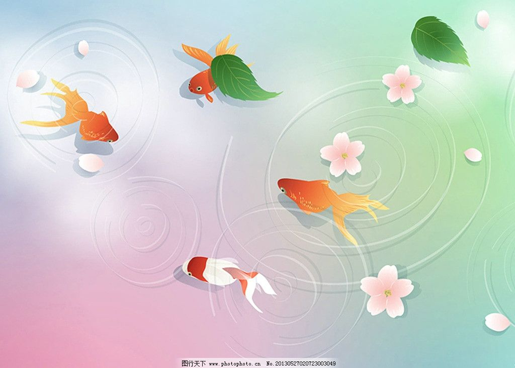 春天 背景 鱼 移门 花 花瓣 白花 粉红花 小花 移门图案 底纹边框