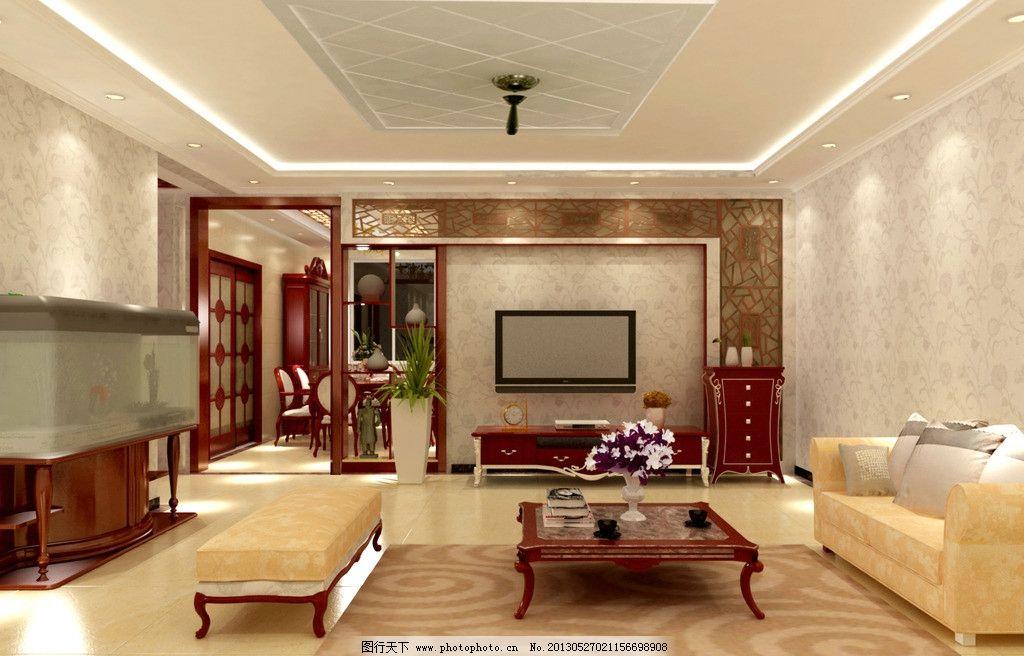 电视背景墙 客厅 吊顶 博古架 中式客厅图片